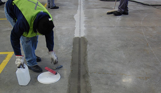 Joint repair of industrial concrete floor